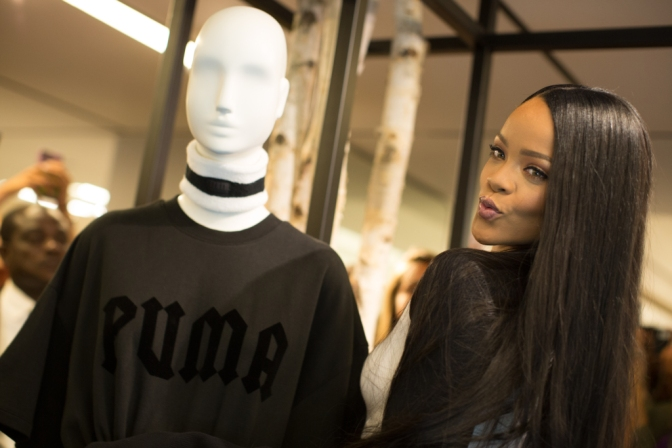 Rihanna at Bergdorf Goodman for the fall collection of her Fenty by Puma collection.