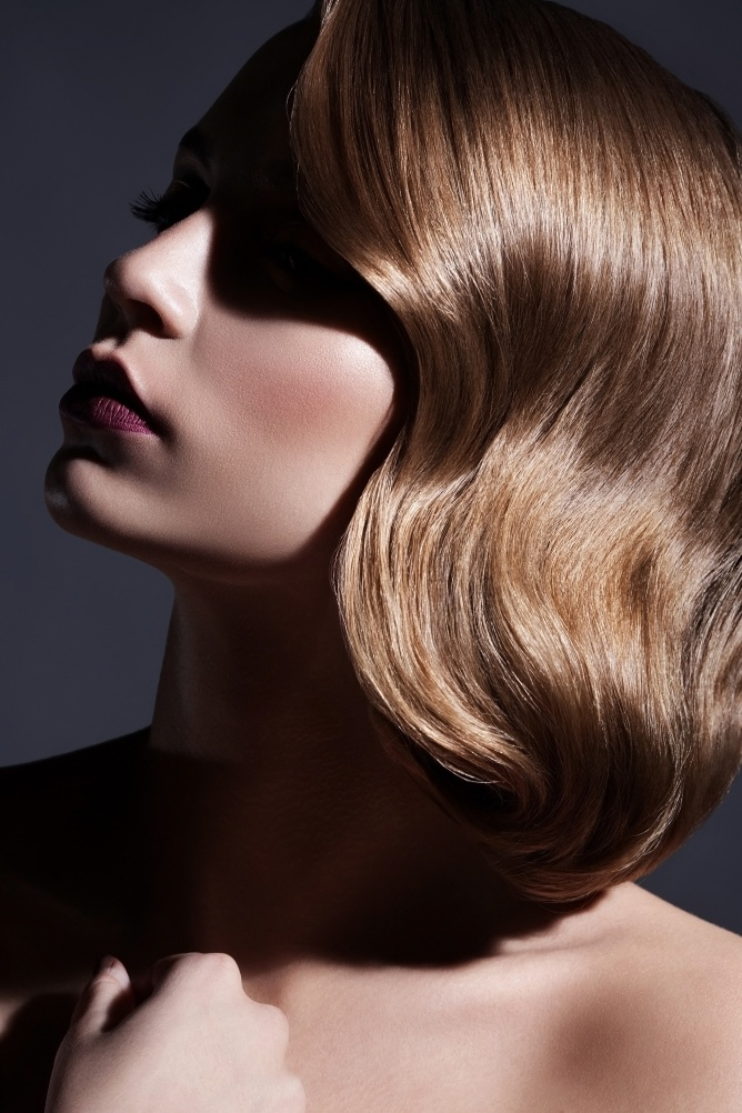Beautiful Blonde Girl. Retro Vintage Hairstyle