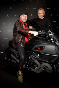 MILAN, ITALY - JANUARY 16: Renzo Rosso and Francesco Facchinetti (L) attend DDD Ducati Diavel Diesel presentation during Milan Men's Fashion Week Fall/Winter 2017/18 on January 16, 2017 in Milan, Italy. (Photo by Jacopo Raule/Getty Images for Diesel) *** Local Caption *** Renzo Rosso; Francesco Facchinetti
