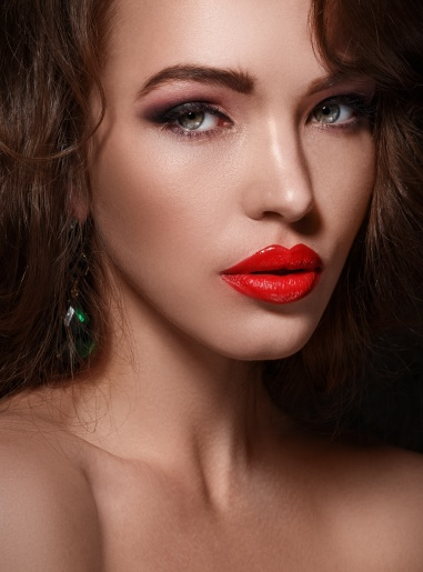 Beautiful woman with red lips