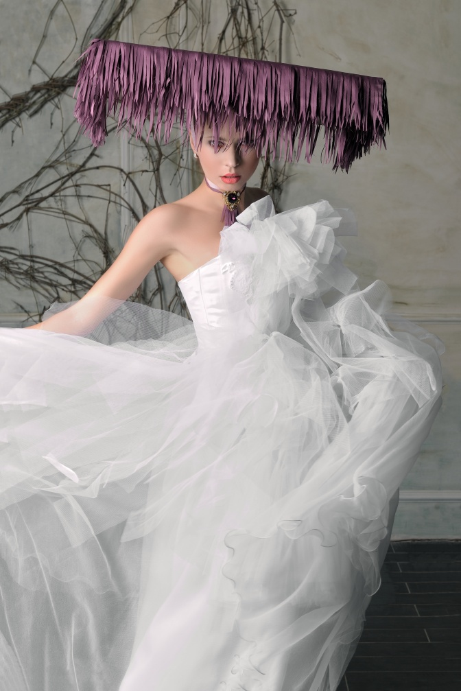 Bride's dress fluttering in the wind