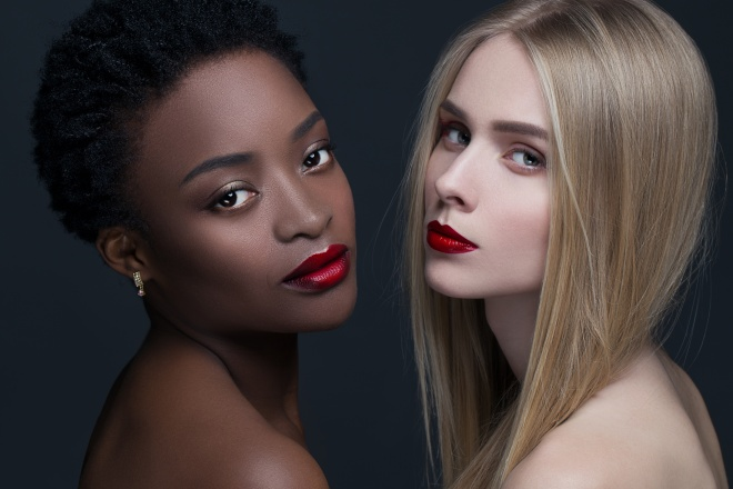 Provocative Make up. Gorgeous Women Face. concept of female beauty in different nationalities. perfect skin and makeup, bright facial features and deep eyes