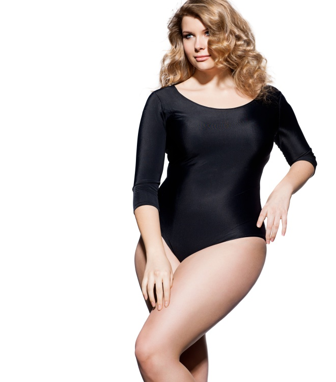 Blond plus-size model with beautiful hair and makeup