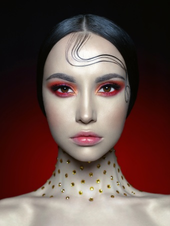 Woman with bright red makeup