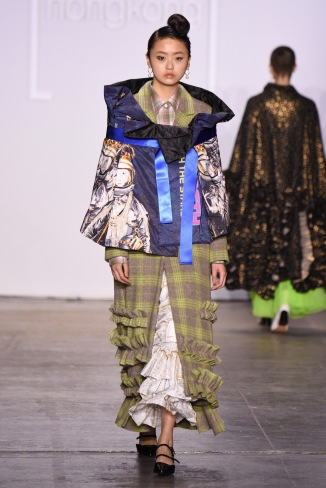 NEW YORK, NY - FEBRUARY 08: A model walks the runway wearing Heaven Please+ for the Fashion Hong Kong FW19 Collections fashion show during New York Fashion Week: The Shows at Industria Studios on February 8, 2019 in New York City. (Photo by Albert Urso/Getty Images for Fashion Hong Kong)