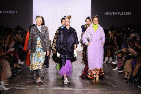 NEW YORK, NY - FEBRUARY 08: Models walk the runway wearing Heaven Please+ for the Fashion Hong Kong FW19 Collections fashion show during New York Fashion Week: The Shows at Industria Studios on February 8, 2019 in New York City. (Photo by Albert Urso/Getty Images for Fashion Hong Kong)